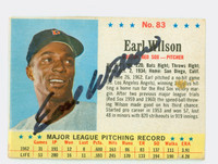 Earl Wilson AUTOGRAPH d.05 1963 Post #83 Red Sox CARD IS F/G; CREASES [SKU:WilsE1559_PO63BBk]