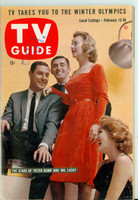 1960 TV Guide Feb 13 Cast of Peter Gunn and Mr Lucky Pittsburgh edition Excellent - No Mailing Label  [Lt wear on cover, ow clean]