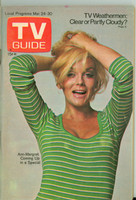 1973 TV Guide Mar 24 Ann-Margaret Cleveland edition Very Good to Excellent - No Mailing Label  [Lt spotting and discoloration on cover, contents fine]