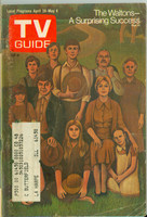 1973 TV Guide Apr 28 The Waltons Western Illinois edition Very Good  [Sl loose at staples, wear and scuffing on cover, contents fine]