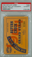 1944 Kentucky Derby Ticket Stub Return Check - Pensive May 6 1944 PSA/DNA Authentic