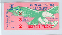 1957 NFL Ticket Eagles vs Lions - Stub November 10