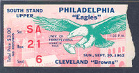 1962 NFL Ticket Eagles vs Browns - Stub September 30