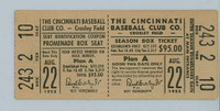 1952 Cincinnati Reds Full Ticket vs Phillies WP Bud Podbielan 8.1 IN Relief HR Willard Marshall August 22, 1952 [Y52_Reds0822F_MG_x2]