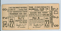 1952 Cincinnati Reds Full Ticket vs Phillies WP Bud Podbielan 8.1 IN Relief HR Willard Marshall August 22, 1952