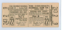 1952 Cincinnati Reds Full Ticket vs Phillies WP Bud Podbielan 8.1 IN Relief HR Willard Marshall Aug 22 1952