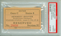 US President Herbert Hoover Full Ticket for Ceremony at Stanford Stadium Aug 11, 1928 PSA/DNA Authentic Slabbed