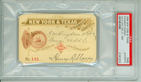 1896 Vintage Steamship Pass - New York & Texas Steamship Co Museum Quality Americana PSA/DNA Authentic Slabbed