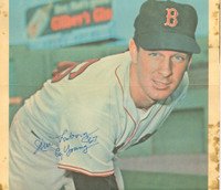 Jim Lonborg AUTOGRAPH 1968 Topps Posters #11 Red Sox HEAVY STAINING ON BORDER; AUTO AND MAIN IMAGE CLEAN