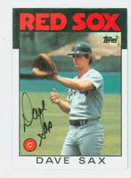 Dave Sax AUTOGRAPH 1986 Topps #307 Red Sox   [SKU:SaxD6304_T86BBAP]