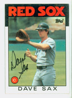 Dave Sax AUTOGRAPH 1986 Topps #307 Red Sox 