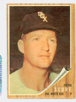 1962 Topps Baseball 116 Herb Score Chicago White Sox Very Good to Excellent Green