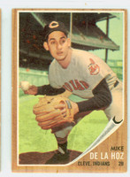 1962 Topps Baseball 123 Mike De La Hoz Cleveland Indians Very Good to Excellent Green