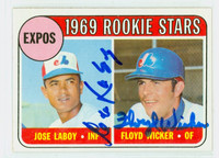Laboy-Wicker DUAL SIGNED 1969 Topps Expos Rookies #524 Expos CARD IS SHARP NMT