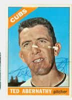 Ted Abernathy AUTOGRAPH d.04 1966 Topps #2 Cubs  CARD IS F/P; SM PAPER LOSS