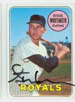 Steve Whitaker AUTOGRAPH 1969 Topps #71 Royals CARD IS VG; AUTO CLEAN