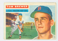 1956 Topps Baseball 34 Tom Brewer  [SKU:Y56_T56BB_034aw2gvgrs]  Boston Red Sox Good to Very Good White Back