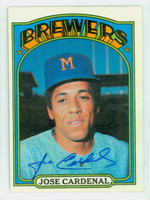 Jose Cardenal AUTOGRAPH 1972 Topps #12 Brewers 