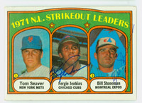 Jenkins-Stoneman DUAL SIGNED 1972 Topps NL Strikeout Leaders #95 