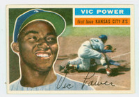 1956 Topps Baseball 67 Vic Power  [SKU:Y56_T56BB_067aw5exprs]  Kansas City Athletics Excellent to Excellent Plus White Back