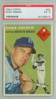 1954 Topps Baseball 32 Duke Snider  [SKU:Y54_T54BB_032a_5p5rs]  Brooklyn Dodgers PSA 5 Excellent
