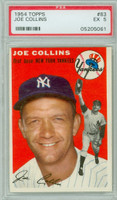 1954 Topps Baseball 83 Joe Collins  [SKU:Y54_T54BB_083a_5p5rs]  New York Yankees PSA 5 Excellent