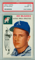 1954 Topps Baseball 215 Ed McGhee  [SKU:Y54_T54BB_215a_6p6rs]  Oakland Athletics PSA 6 Excellent to Mint
