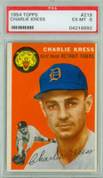 1954 Topps Baseball 219 Charlie Kress  [SKU:Y54_T54BB_219a_6p6rs]  Detroit Tigers PSA 6 Excellent to Mint
