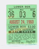 1960 Baltimore Orioles Ticket Stub vs Detroit Tigers Jack Fisher Win #10 - August 24, 1960 Good Creasing
