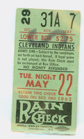 1962 Cleveland Indians Ticket Stub vs Baltimore Orioles Jim Gentile HR #79-80, Milt Pappas Win #30 - May 22, 1962 Very Good Lt creases