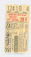 1962 Washington Senators Ticket Stub vs New York Yankees Whitey Ford Win #160 - April 29, 1962 Very Good to Excellent Rough tear line, sl paper loss on reverse by tear