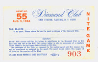 1964 New York Mets Ticket Stub vs San Francisco Giants Willie Mays HR #436-437 McCovey HR #123  -August 5, 1964 Very Good Vertical crease, ow clean