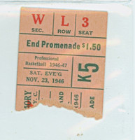 1946 New York Knicks Ticket Stub vs Cleveland Rebels Mel Rieve scored 27 points - November 23, 1946 NBA INAUGURAL SEASON Excellent Rough Tear Line