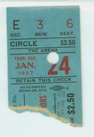 1957 Philadelphia Warriors vs St Louis Hawks Ticket Stub Bob Pettit 30 pts Paul Arizin 29 pts  - January 24, 1957 Very Good Lt crease, punch cxl'd