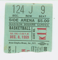 1959 New York Knicks Ticket Stub vs Cincinnati Royals Jack Twyman 39 pts - December 8, 1959 Excellent Rough tear line
