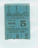 1959 Minneapolis Lakers (vs Knicks) / Philadelphia Warriors (vs Hawks) / Syracuse Nationals (vs celtics) Triple Header Ticket Stub Elgin Baylor scored 32 pts  -March 5, 1959 Very Good to Excellent Lt crease, rough tear line