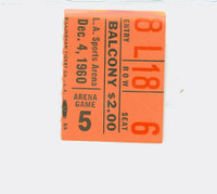 1960 Los Angeles Lakers Ticket Stub vs Boston Celtics Elgin Baylor scored 40 points Tom Heinsohn had 34 points  -December 4, 1960 Near-Mint Very clean