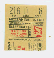 1964 New York Knicks Ticket Stub vs Cincinnati Royals Oscar Robertson 44 pts Jerry Lucas 21 pts - February 15, 1964 Near-Mint Rough tear line
