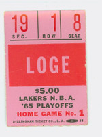 1965 Los Angeles Lakers PLAYOFF Ticket Stub vs Baltimore Bullets Jerry West 49 pts Walt Bellamy 22 pts  - April 3, 1965 Excellent to Mint Very light wear