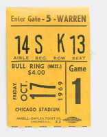1969 Chicago Bulls Ticket Stub vs New York Knicks Chet Walker 27 pts Walt Frazier 20 pts - October 17, 1969 KNICKS CHAMPIONSHIP SEASON Very Good Tape residue on reverse, ow solid near-mint