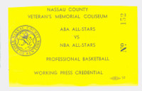 1972 NBA Press Pass for Supergame II - 1972 NBA All-Stars vs 1972 ABA All-Stars May 25, 1972 Nassau Coliseum Bob Lanier MVP Near-Mint Very Clean