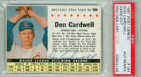Don Cardwell AUTOGRAPH d.08 1961 Post #194 Cubs BOX PSA/DNA 