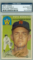 Pete Runnels AUTOGRAPH d.91 1954 Topps #6 Senators PSA/DNA CARD IS CLEAN VG/EX