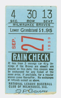 1959 Milwaukee Braves Ticket Stub vs Phi Phillies Sparky Anderson Final Game - Sep 27, 1959 Near-Mint