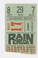 1955 Milwaukee Braves Ticket Stub vs NY Giants Willie Mays HR #73 - May 17, 1955 Very Good Small crease, ow Ex