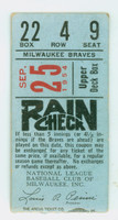 1954 Milwaukee Braves Ticket Stub vs Stl Cardinals Mathews HR #112 Burdette Win #36 - Sep 25, 1954 Good to Very Good Several creases, front and back are intact