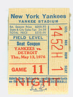 1976 New York Yankees Ticket Stub vs Detroit Tigers Staub HR #200, Chamblis HR #30 - May 13, 1976 Good to Very Good Reverse 1/2 obscured by glued on page residue