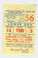 1970 New York Yankees Ticket Stub vs Chicago White Sox Stottlemyre Win #108 HR #6 - Aug 11, 1970 Good to Very Good Reverse 1/2 obscured by glued on page residue