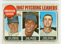 1968 Topps Baseball 10 AL Pitching Leaders LONBERG  Very Good to Excellent