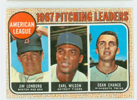 1968 Topps Baseball 10 b AL Pitching Leaders LONBORG  Good to Very Good